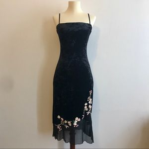 NWOT Betsey Johnson Black Stretch Velvet Dress
